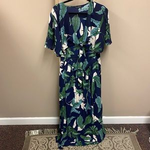 Shein navy botanical tie front cut out maxi dress